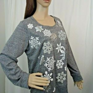 Style & Co Grey Heather White Snowflake Sweatshirt